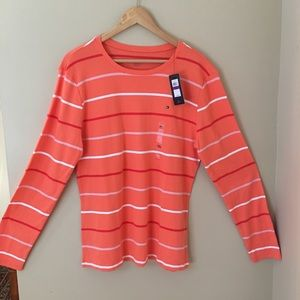 NWT Tommy Hilfiger Coral Striped Long Sleeved Tee